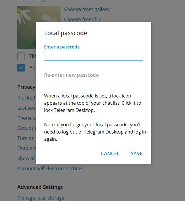 چگونه روی تلگرام نسخه کامپوتر رمز بگذاریم