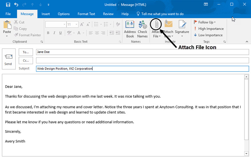 attach a file with resume to an email in Outlook